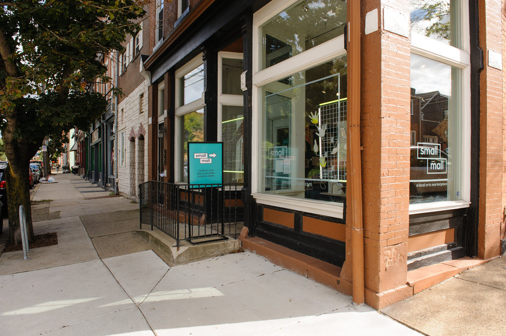 Exterior of Small Mall, the brick and mortar retail outpost and office of CDCP centrally located along Butler Street in Lawrenceville, a neighborhood in Pittsburgh. Courtesy of Porter Loves Creative.