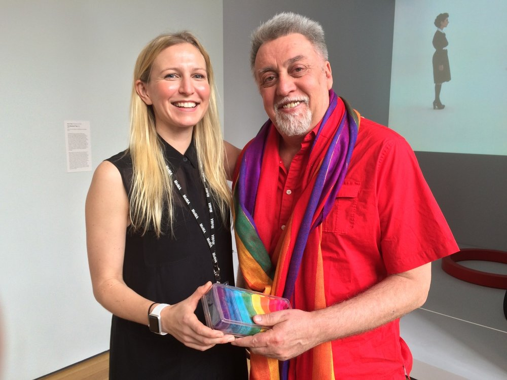 Fisher with Gilbert Baker, creator of the Rainbow Flag, at MoMA in 2015. Courtesy Michelle Millar Fisher.
