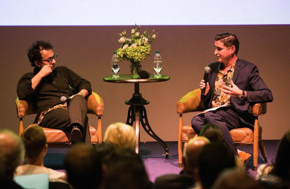 Artist Lecture with Farhad Moshiri (left) and José Carlos Diaz (right). Photo by Sean Carroll.