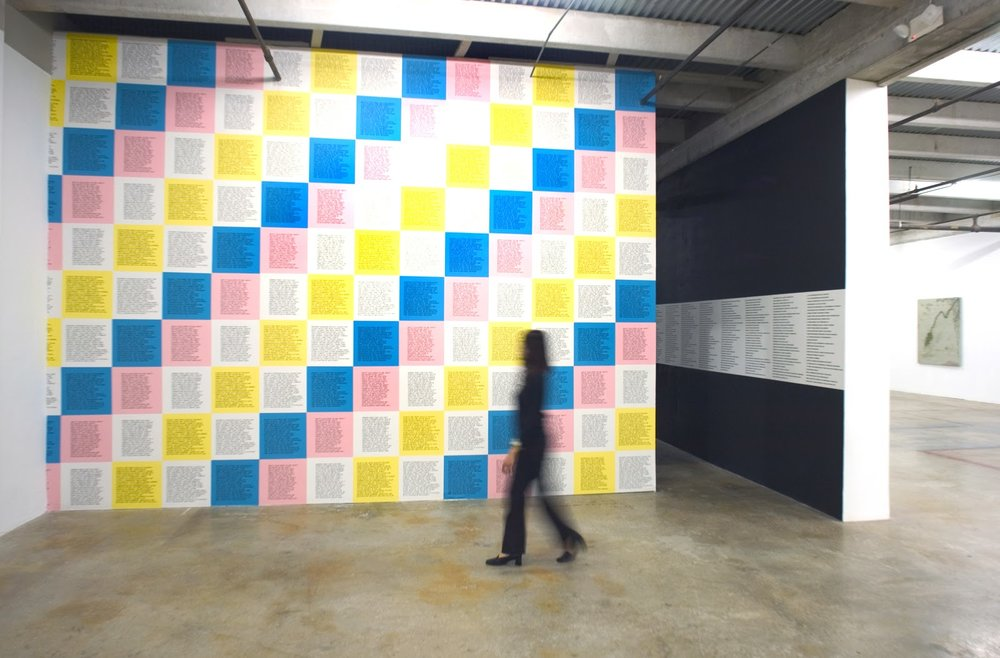 The Jenny Holzer solo-show at the Rubell Family Collection in Miami (2003) curated by Diaz. Pictured, Holzer's  Inflammatory Essays  as multi-colored wallpaper at the exhibition entrance. Courtesy José Carlos Diaz.
