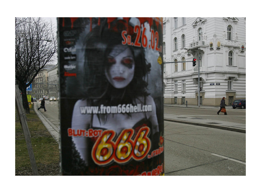 666  (Vienna, Austria, 2011) by Johnny Green (33 x 43cm)  Price: £250   Size: 13 H x 16.9 W x 1.2 in   This is the 1st of 12 Limited Edition C-type Lambda prints, encased in a beautiful gloss white ayous wood frame. The matt photograph is signed & dated en verso by the artist and has an elegant off white mount also.
