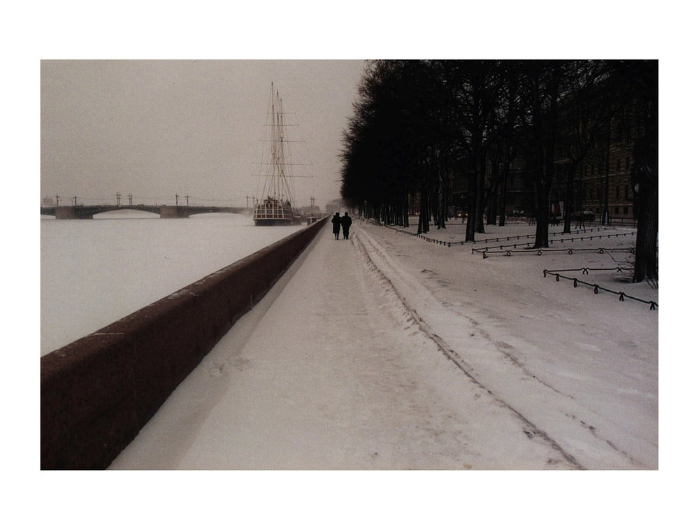 Ice River Love  (Saint Petersburg, Russia, 2002) by Johnny Green (41 x 51cm)  Price: £250   Size: 16.2 H x 20.1 W x 0.8 in   This is the 1st of 21 Limited Edition C-type Lambda prints, encased in a beautiful, silver metallic frame. The matt photograph has an elegant off white mount which is signed and numbered by the artist.