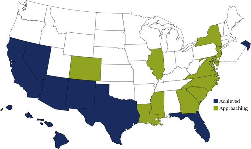 States with Majority-Minority Status of Youth under 18