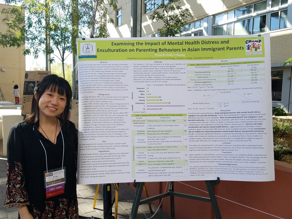 "Yi presenting her poster ""Examining the Impact of Mental Health Distress and Enculturation on Parenting Behaviors in Asian Immigrant Parents"""