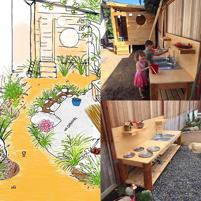 Mud kitchen and playhouse get a test run during installation.  #gardenmagiccompany #enviroscapela #enviroscape #waterdiversion #sustainable #cedar #wood #decomposedgranite #gardendesign #drawing #landscapedesign #landscaping #HermosaBeach #SoCal #SouthBay #California #droughttolerant