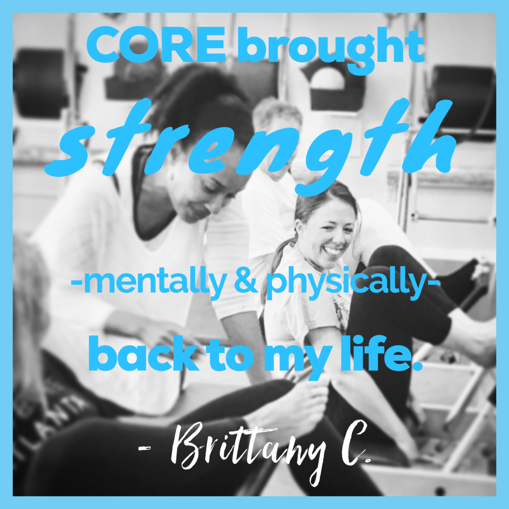 Happy Pilates semi-private client with expert instructor in supportive community