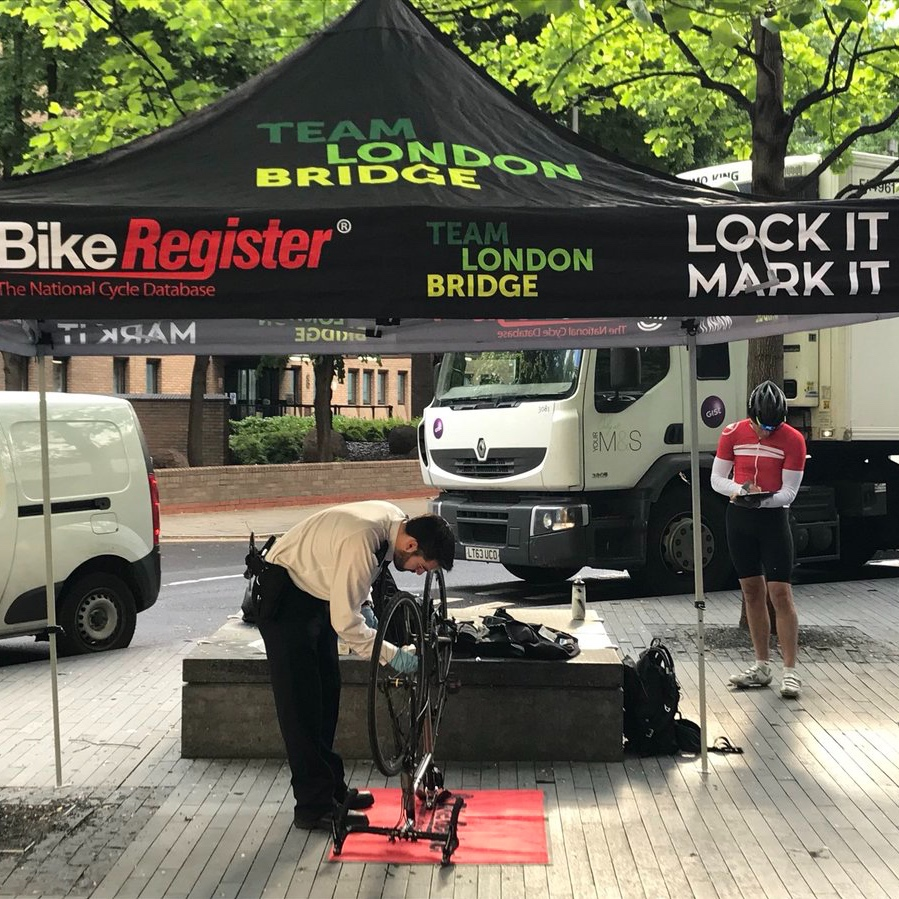 Bike Register & Property Marking Kits - To help reduce bicycle theft, we run a number of free BikeRegister marking sessions across London Bridge. We also give away free forensic property marking kits to combat burglary.Find out more +