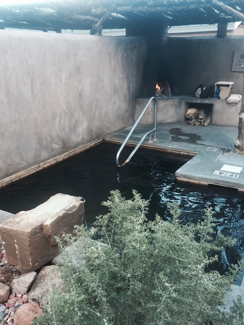 Private mineral tub and kiva fireplace may await you at ojo!