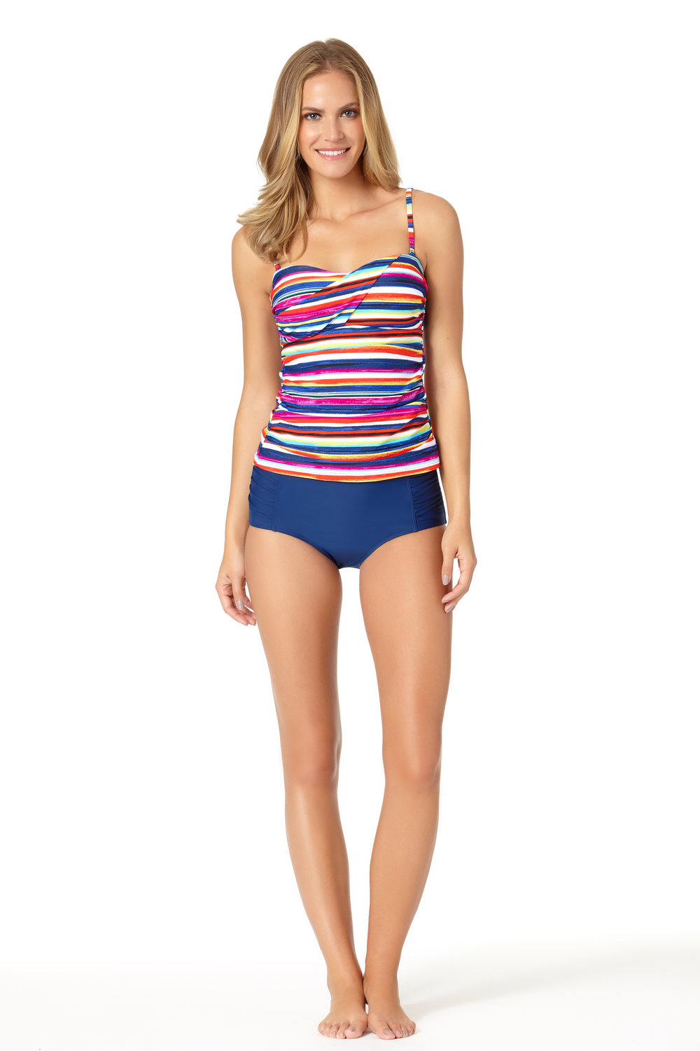 STYLE # CTL17403T / CTL17500B - Carnival Stripe Twist Bandini TopBUY NOW ON WALMARTSolid High Waist BottomBUY NOW ON WALMART