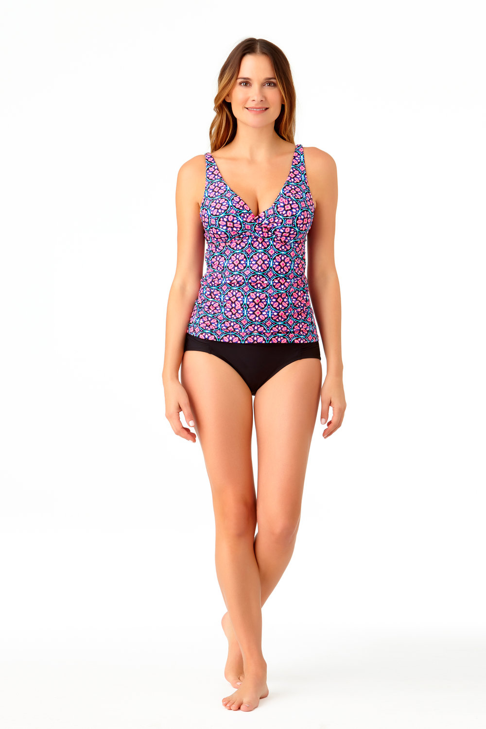 STYLE # CTL27404T / CTL27500B - Newbury Tile Tankini TopBUY NOW ON WALMARTSolid High Waist BottomBUY NOW ON WALMART