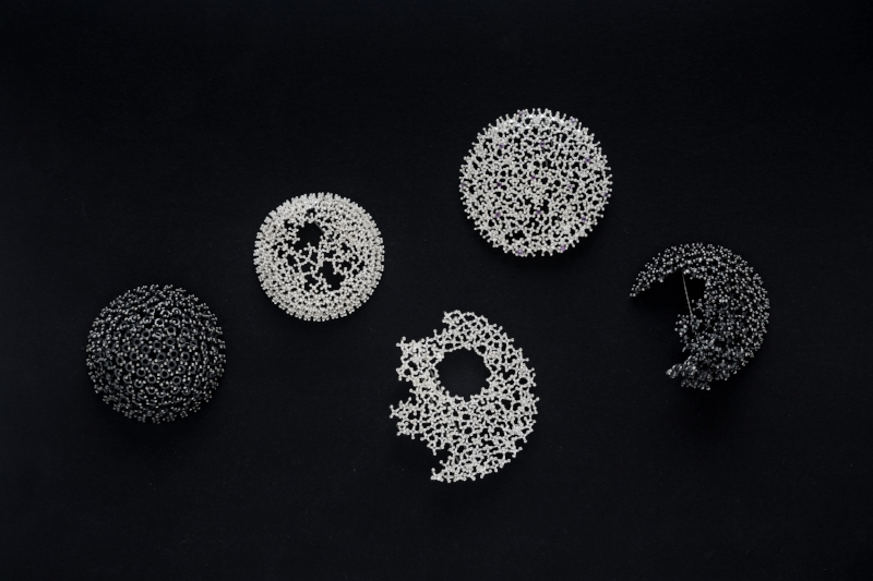 Five broches from the Coral Collection, sterling silver
