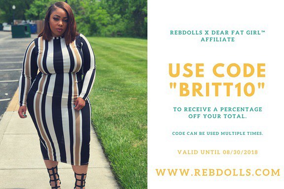Support Our Founder @hausovthickness by shopping rebdolls and using her promo code BRITT10 for a percentage off your purchase. 😘 - -  Rebdolls is an inclusive brand for women of all shapes , shades and sizes. S-5X !! - - CLICK THE LINK IN OUR BIO TO SHOP