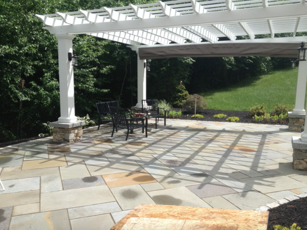 Paver patio by landscaper in Hollis, NH