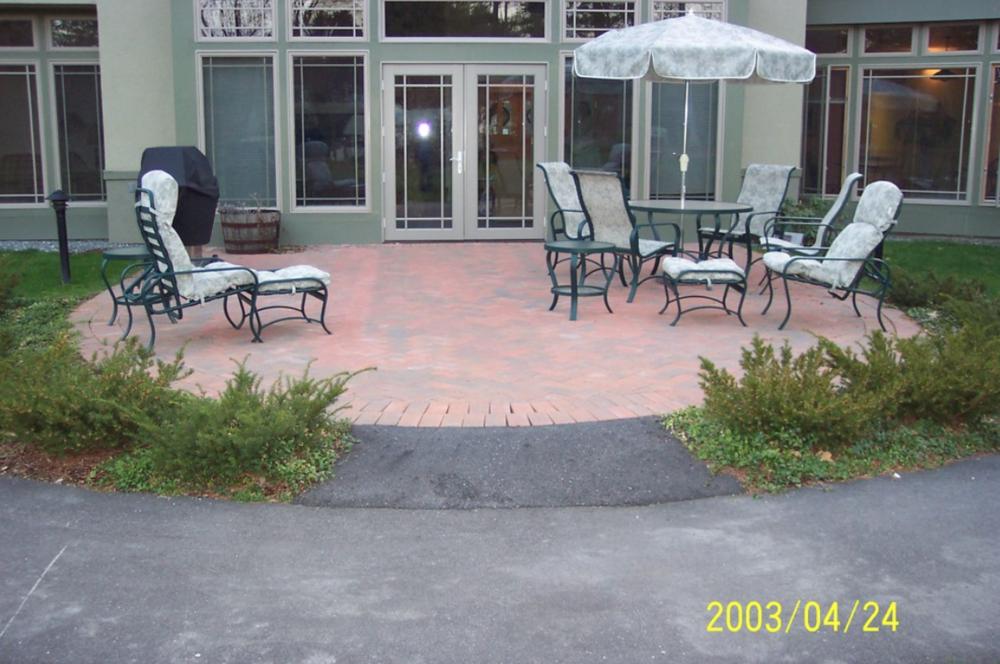 Paver patio landscape design in Laconia, NH