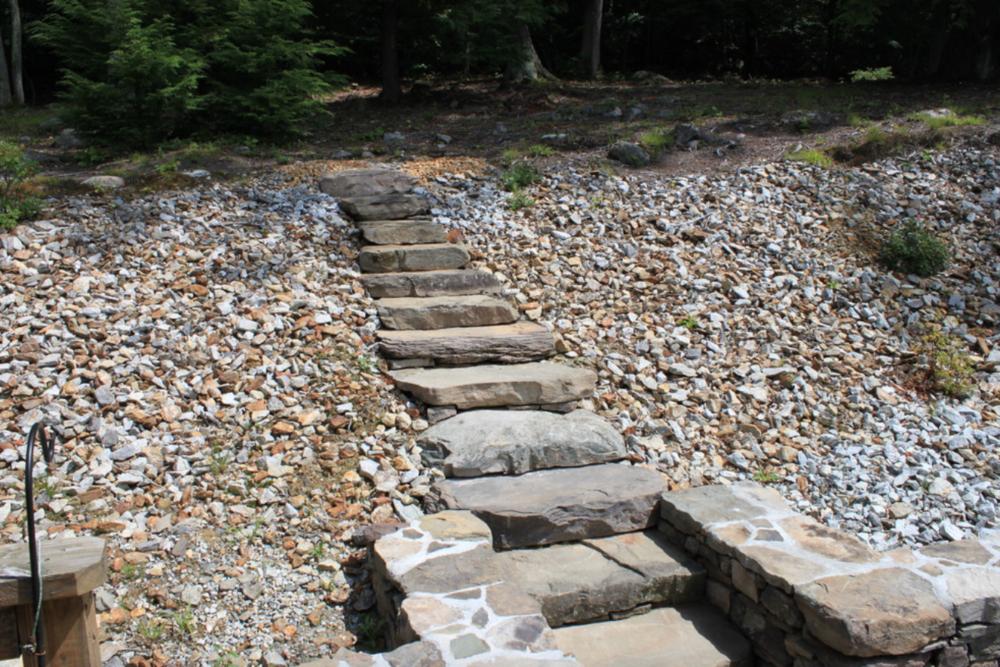 Patio walkway landscape design in Waltham, MA