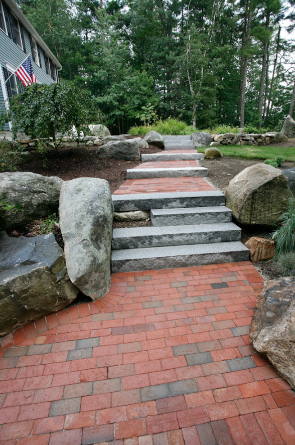 Paver walkway landscape design in Milford, NH