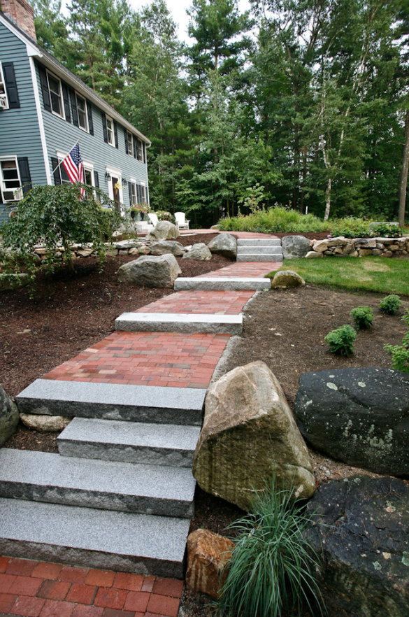 Landscaping services, including paver walkway in Milford, NH