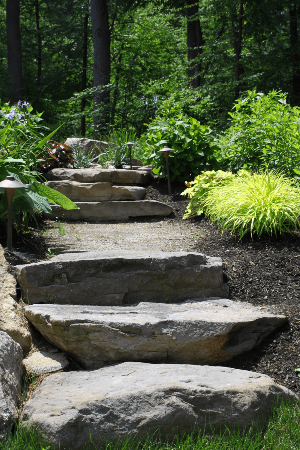 Landscaper in Milford NH with top paver walkway landscape design.