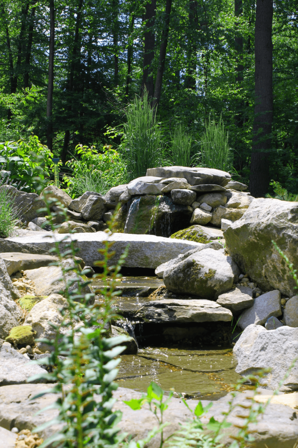 Landscape design with water features in Milford, NH