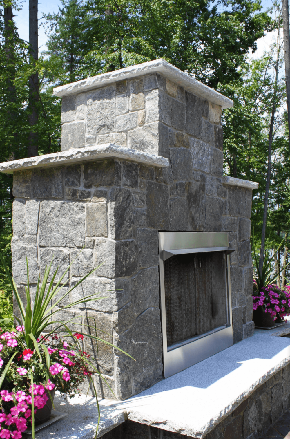 Milford, NH landscaping with outdoor fireplace
