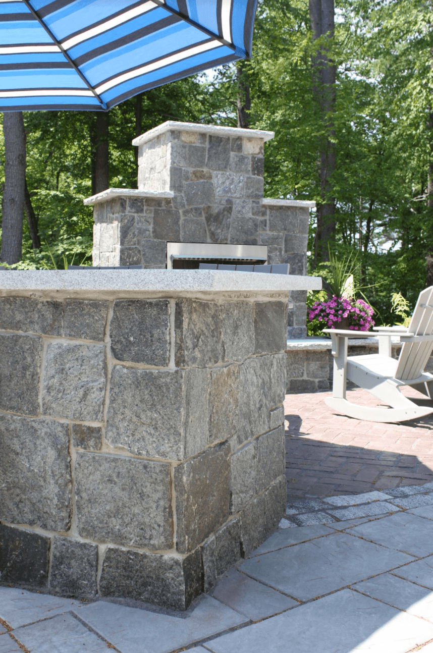 Outdoor fireplace and fire pit in Milford, NH