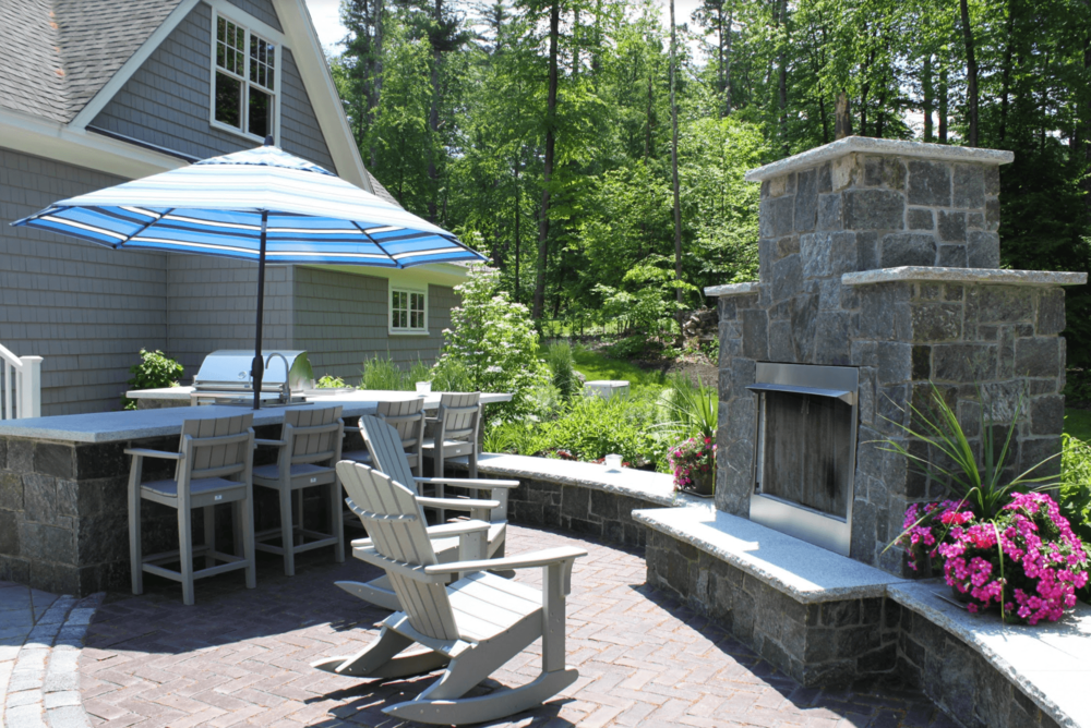 Landscape design with masonry in Milford, NH