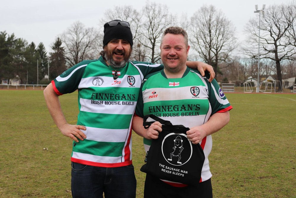 Man of the Match Charles Boden gets his goodie bag from The Sausage Man Never Sleeps