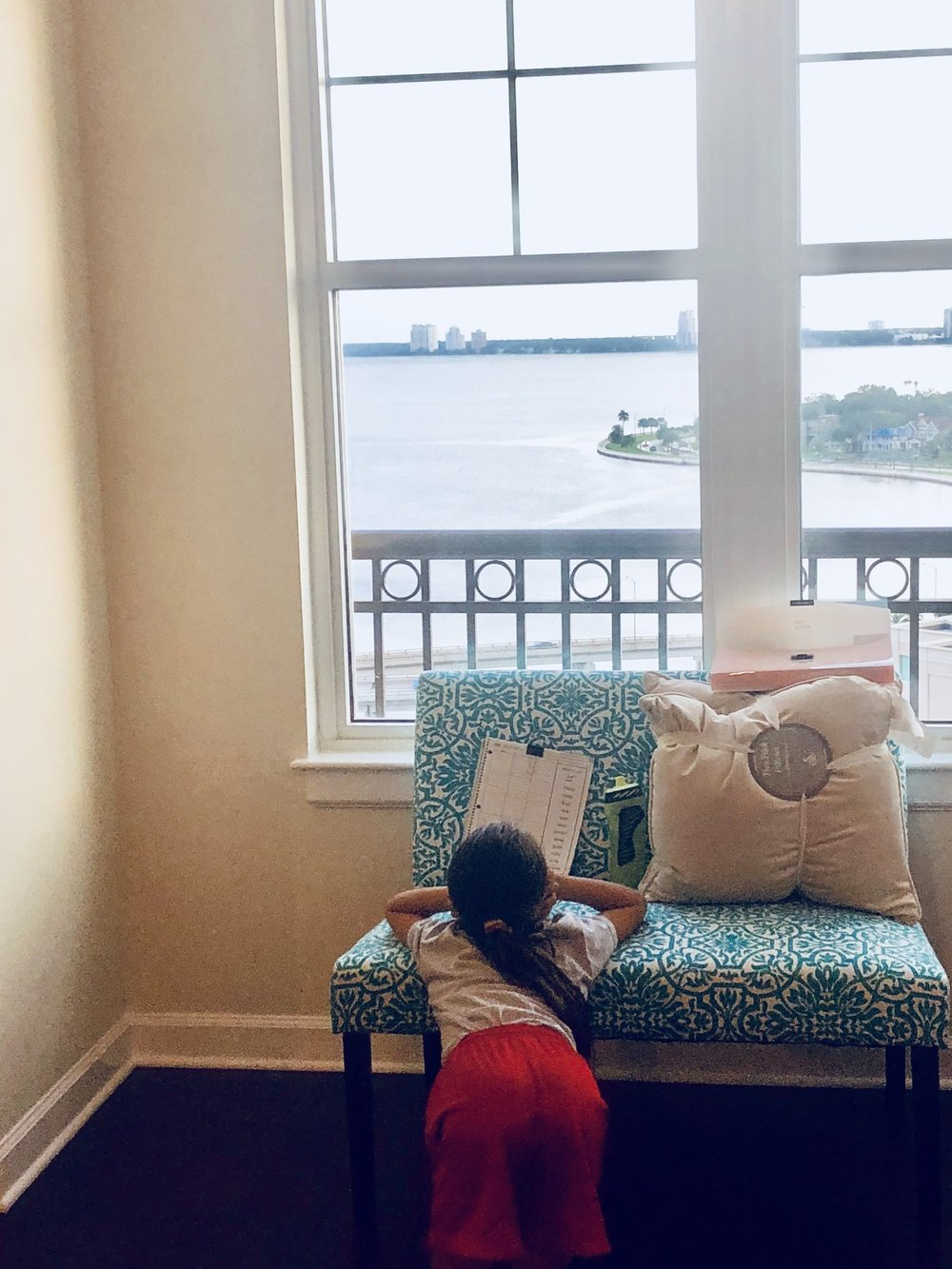 Studying for her spelling test - What a view :)