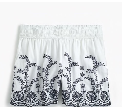 White and black shorts from  J.Crew