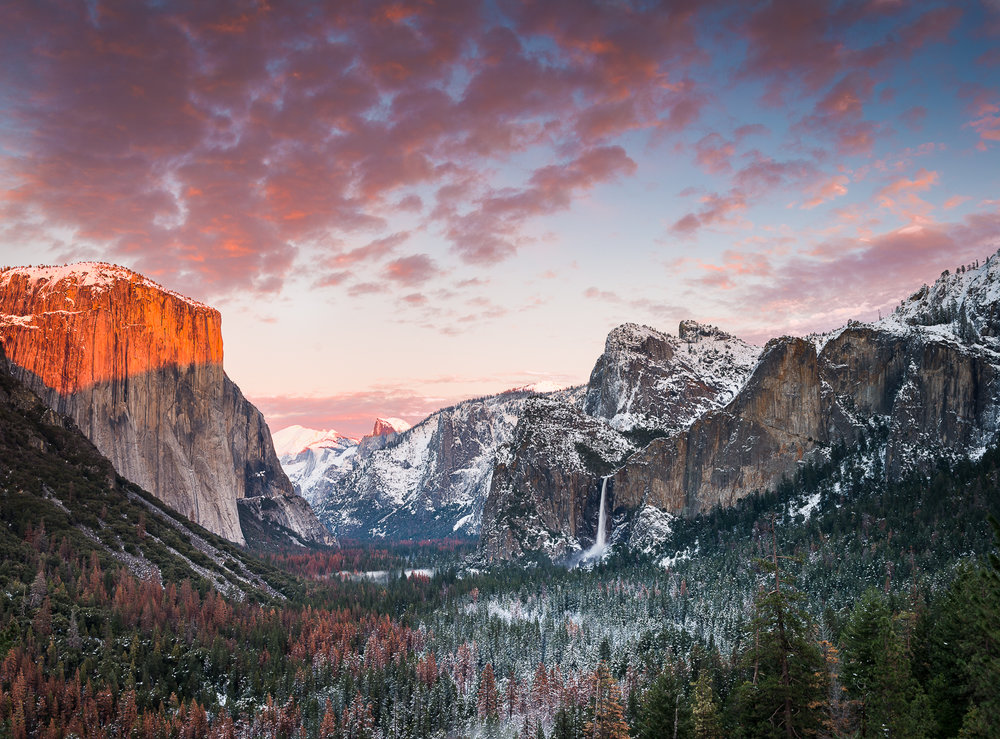 Tunnel view, yosemite, sunset