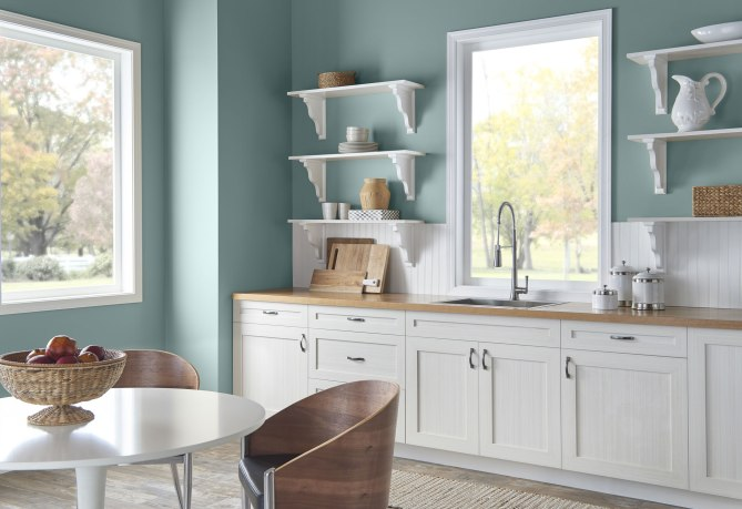 This cool, tranquil, spruce blue is inspired by nature and is a soothing, restorative coalescence of blue, gray and green.