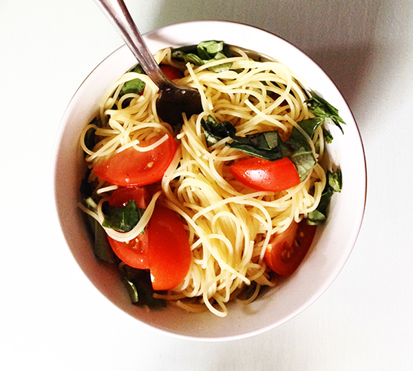 A personal favorite: angel hair pasta with tomatoes, olive oil, and fresh chopped basil. Om to the nom.