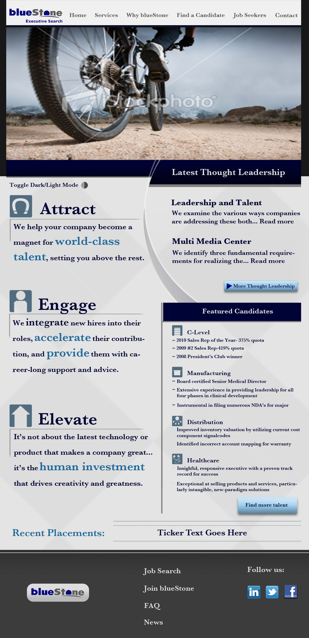 blueStone Staffing - mockup of home page for web developers