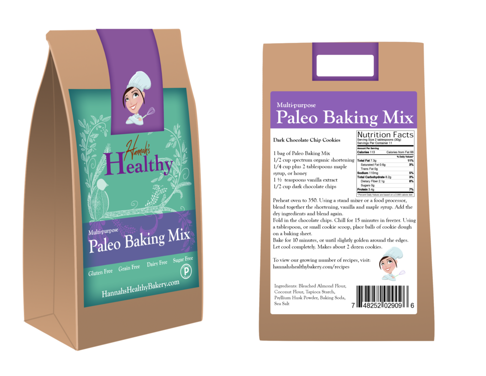 Hannah's Healthy Bakery - label/packaging design and mockup