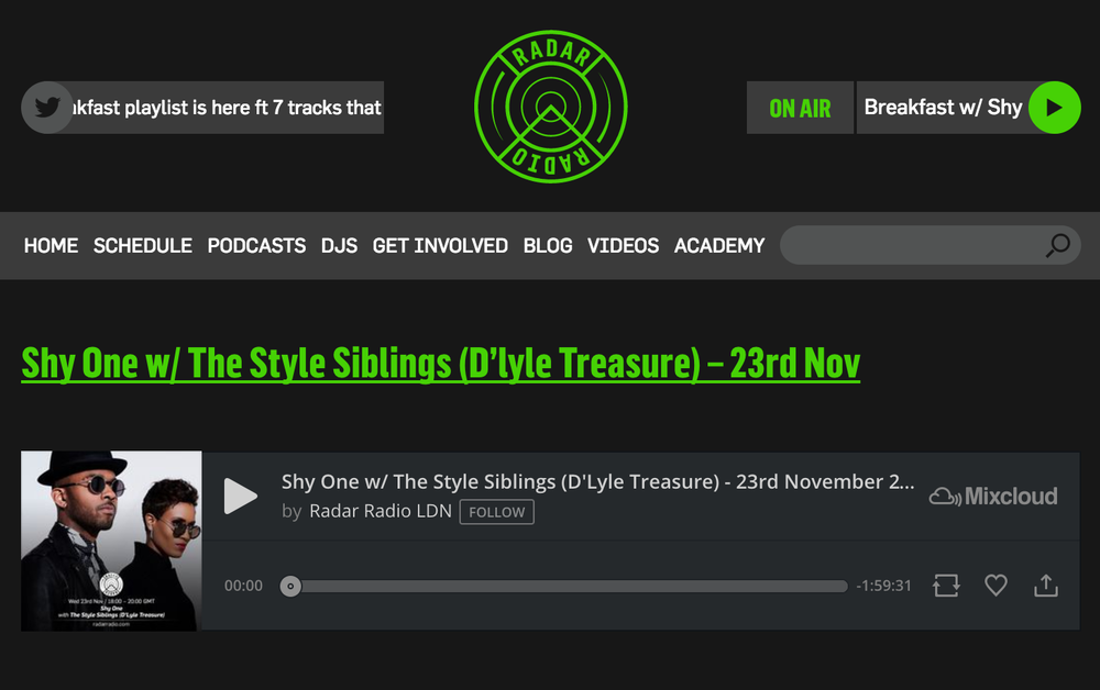 Radar Radio - Shyone