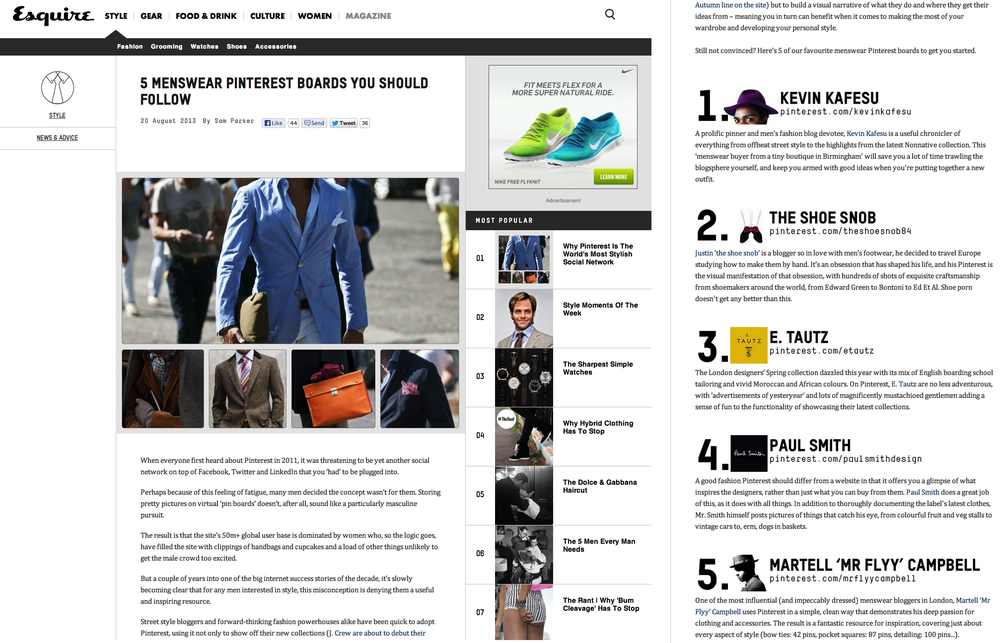 Esquire's Top 5 Pinterest Accounts