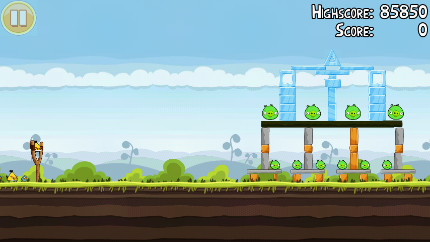 A basic example of a level layout you may encounter while playing Angry Birds.