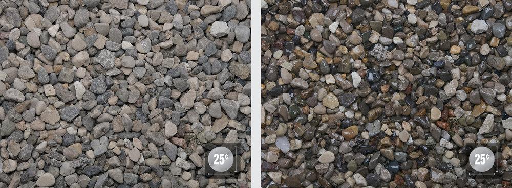 """Peastone 1/2"""" (Left: Dry, Right: Wet)"""