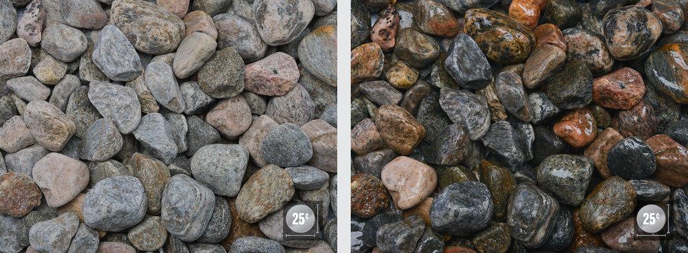 """1"""" - 2"""" (Left: Dry, Right: Wet)"""