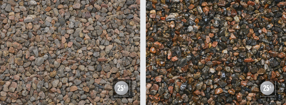 """Peastone 1/4"""" - 1/2"""" (Left: Dry, Right: Wet)"""