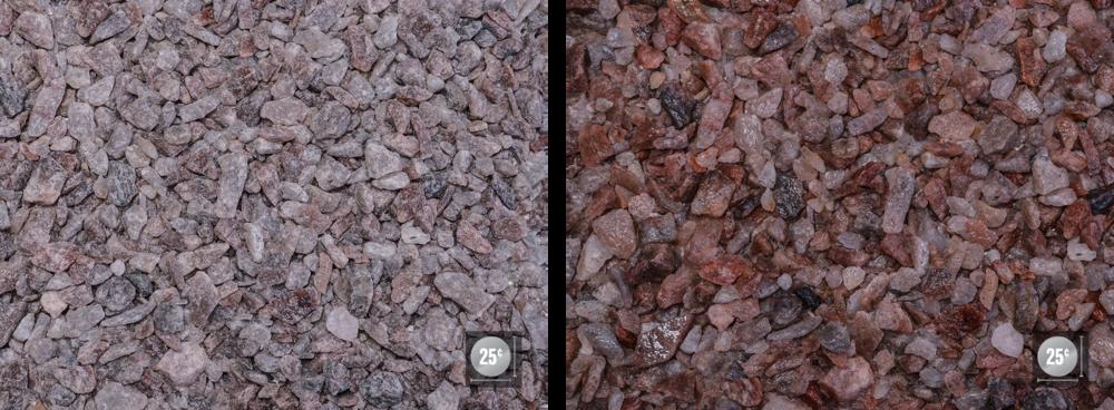 """3/8"""" - 3/4"""" (Left: Dry, Right: Wet)"""