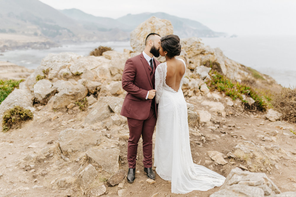 Newlyweds on the west coast of California