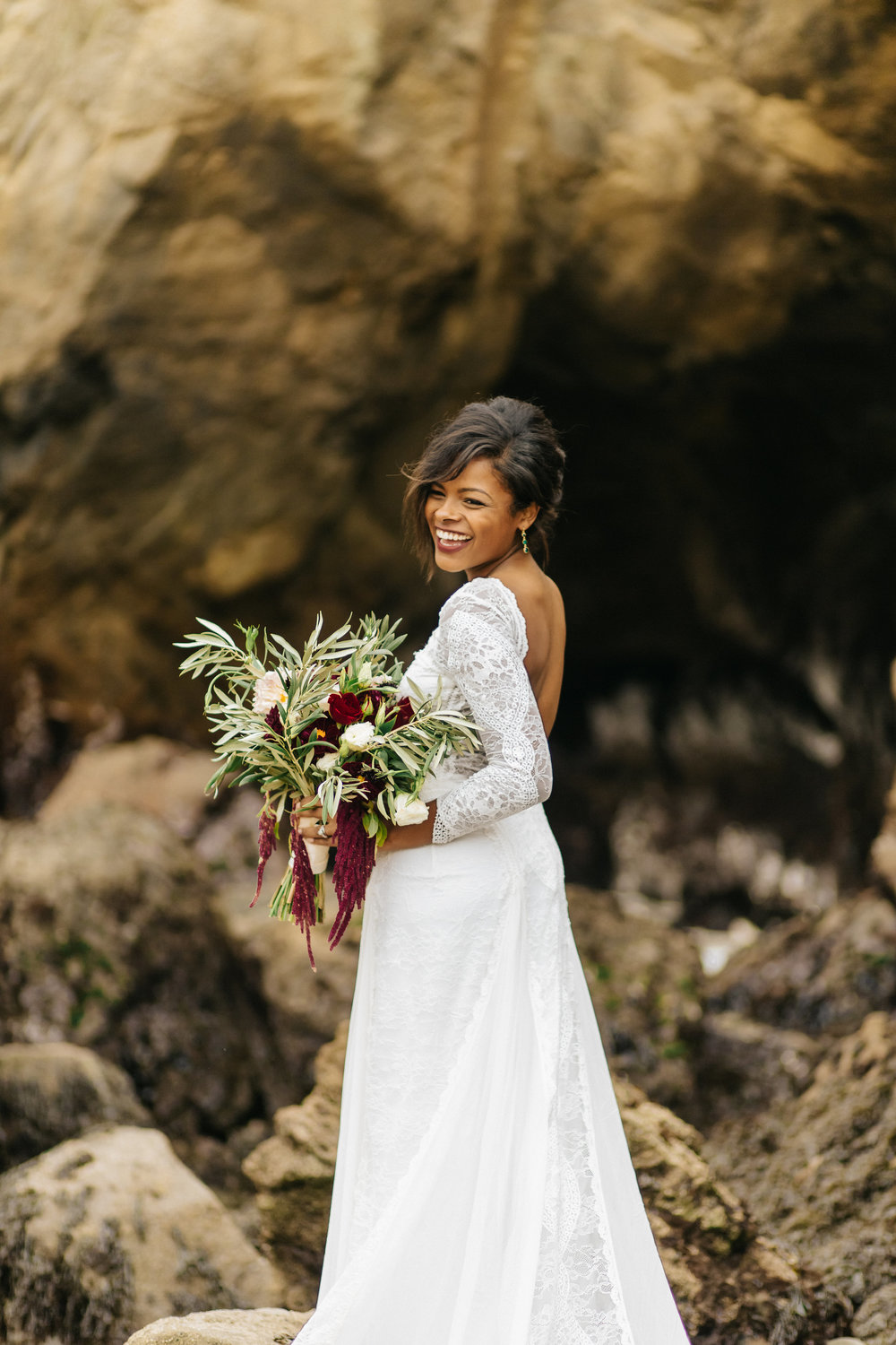 Smiling bride after elopement in Big Sur, CA