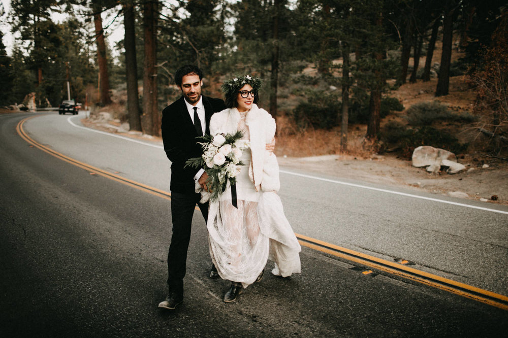 Moody winter wedding featured in Junebug Weddings