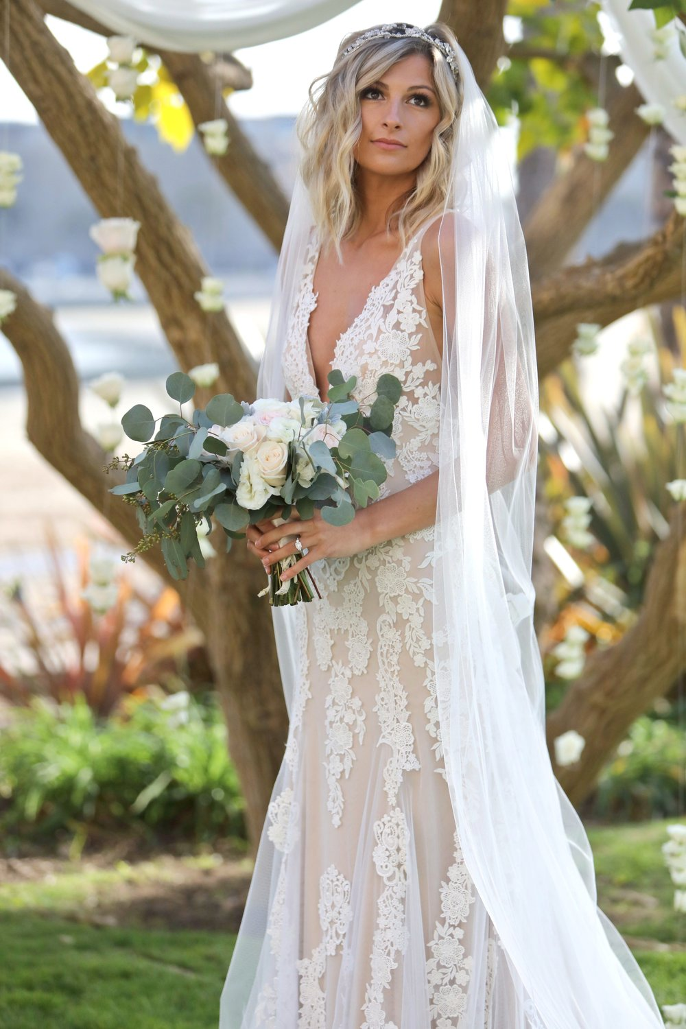 Marina Del Ray bridal portraits before her ceremony
