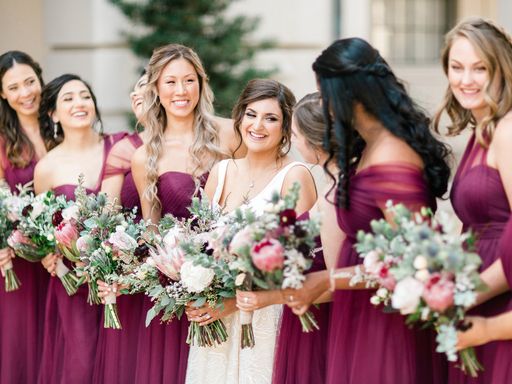 Bridesmaids and bride-to-be glowing before the wedding at Noor, Pasadena
