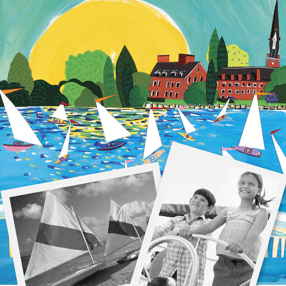 CHESAPEAKE - Nothing says Chesapeake better than a billowing sail. Liz's love for Maryland's water inspired these brightly buoyant reflections. Her lighthearted vistas featuring Annapolis landmarks paint a vibrant picture of this picturesque port.