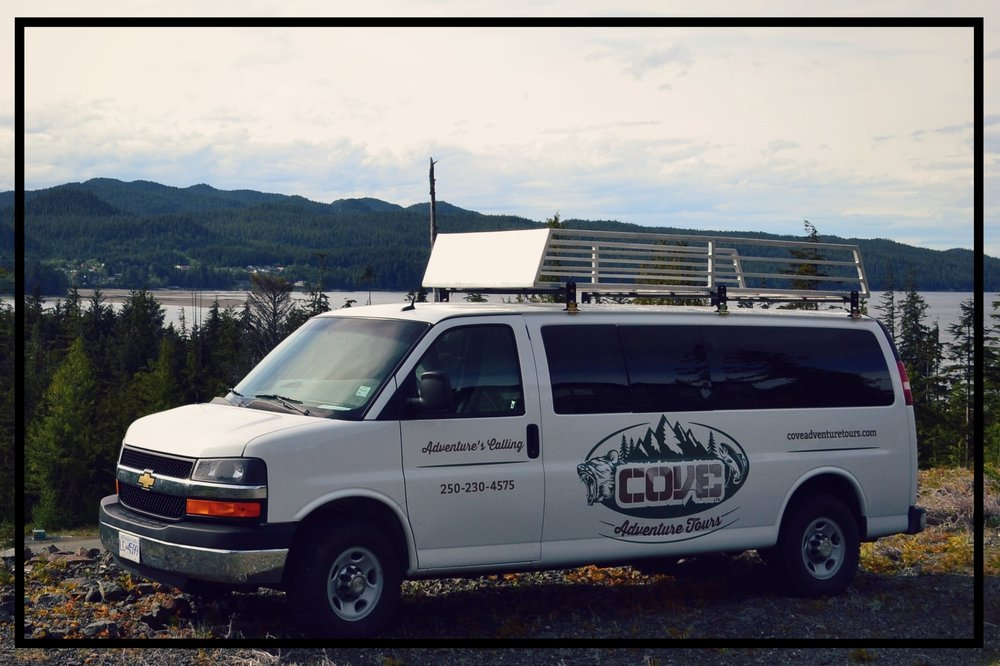 The Cove Adventure Tours van is equipped for all road conditions. It is perfect for the rough road that accesses San Josef Bay and Cape Scott Provincial Park.