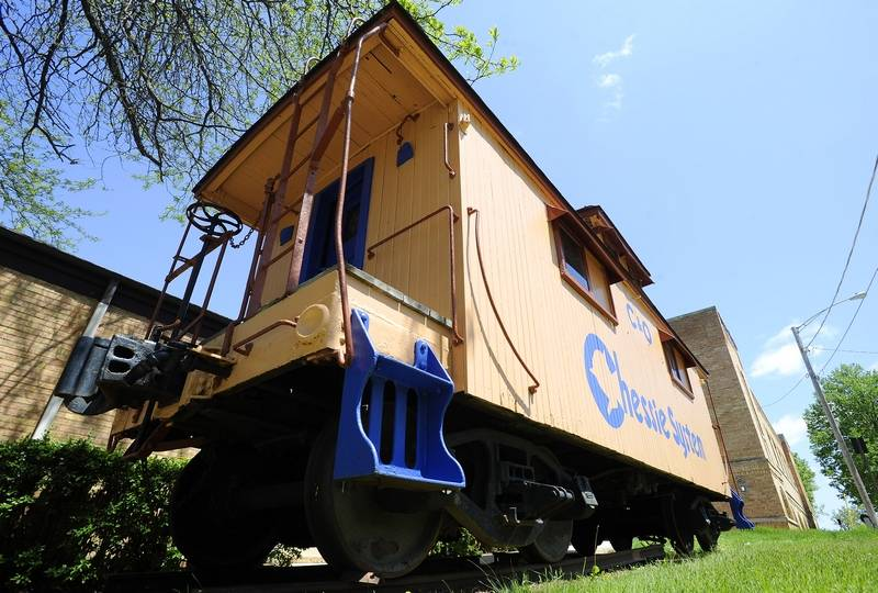 Chessie Chesapeake & Ohio 1900's original wood Caboose Car. Sits outside of the Ice House Mall & Village Shops.