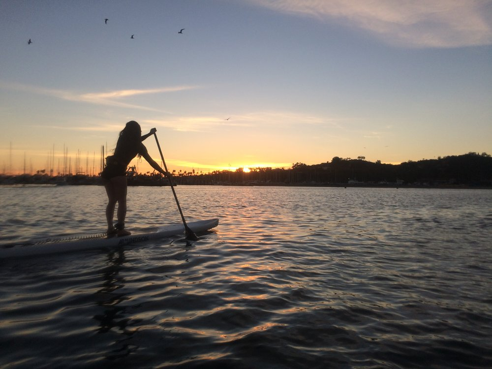 Stand-up paddle boarding in Santa Barbara at sunset